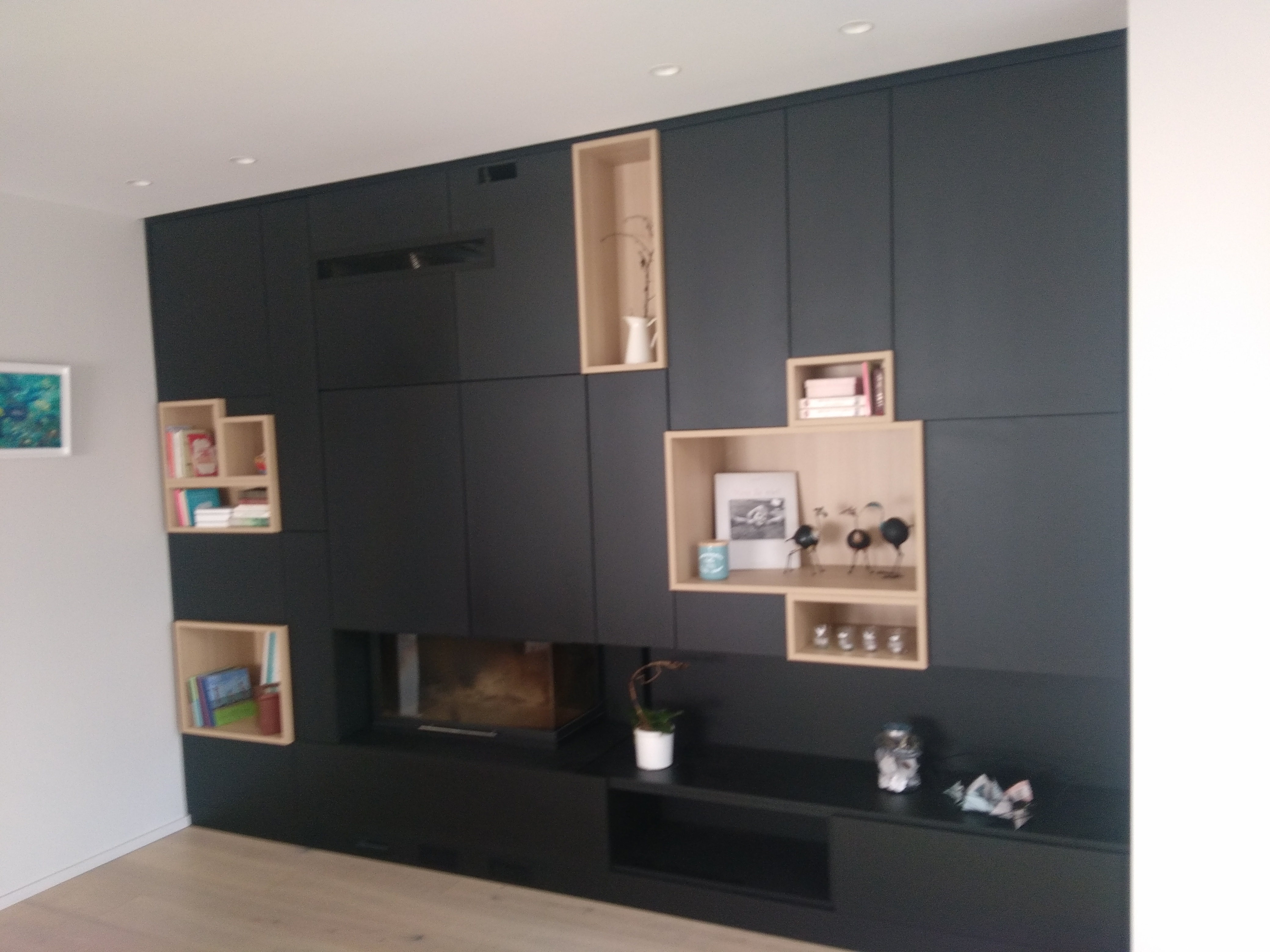 meuble sur mesure autour d un insert kiosque am nagement. Black Bedroom Furniture Sets. Home Design Ideas