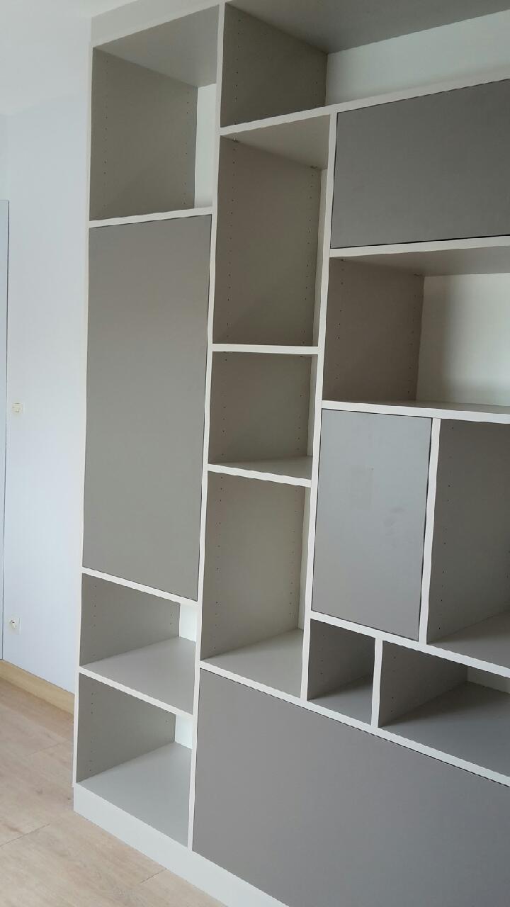 Biblioth Que D Angle Sur Mesure Avec Rangements Ouverts Et Ferm S # Bibliotheque D'Angle