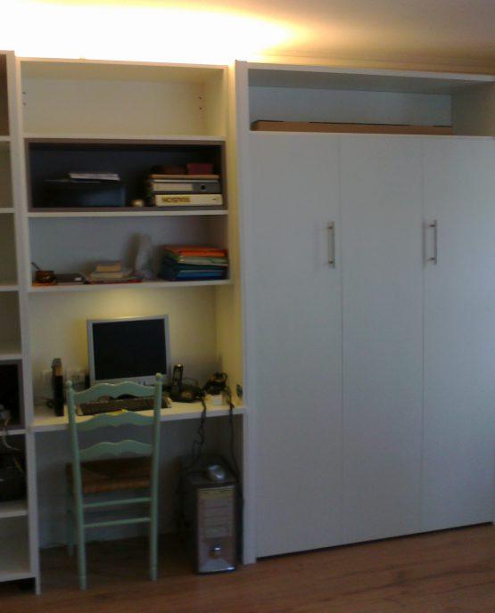 bibliotheque bureau et lit escamotable electrique sur mesure a lille