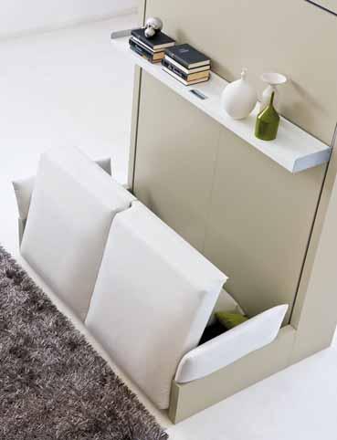 lit escamotable 2 places avec canape assise avec rangements