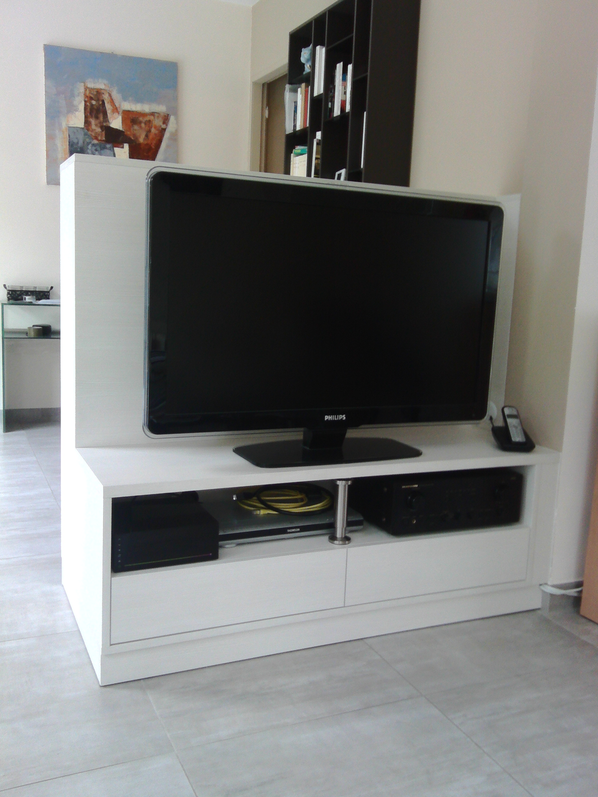 Meuble Tv Avec Bibliothèque meuble tv en séparation de pièces - kiosque aménagement