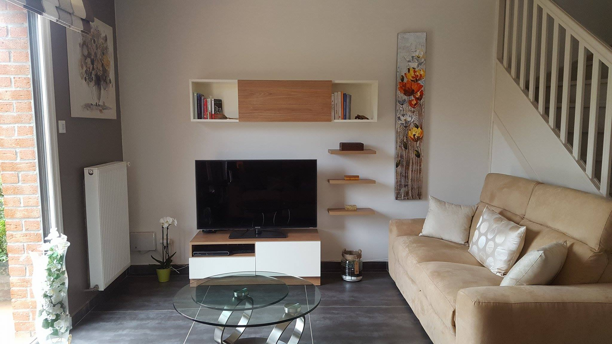 Meuble De T L Cosy R Alis Wambrechies Avec Composition Murale # Amenagement Tele Meuble Suspendu
