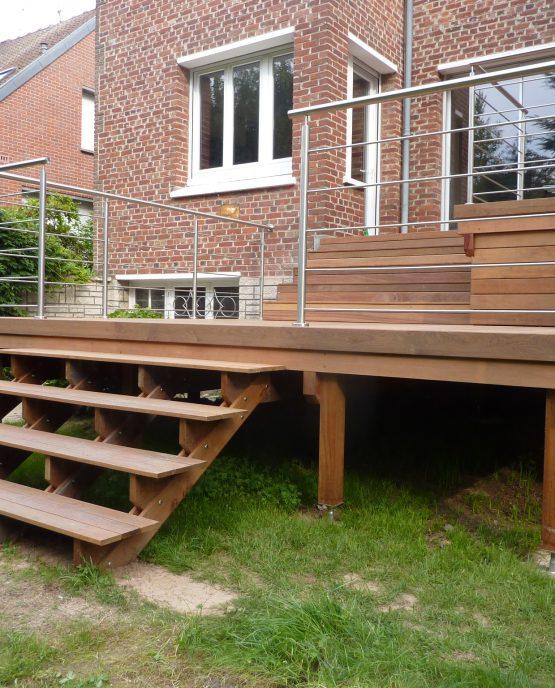 terrasse bois et garde corps inox 2