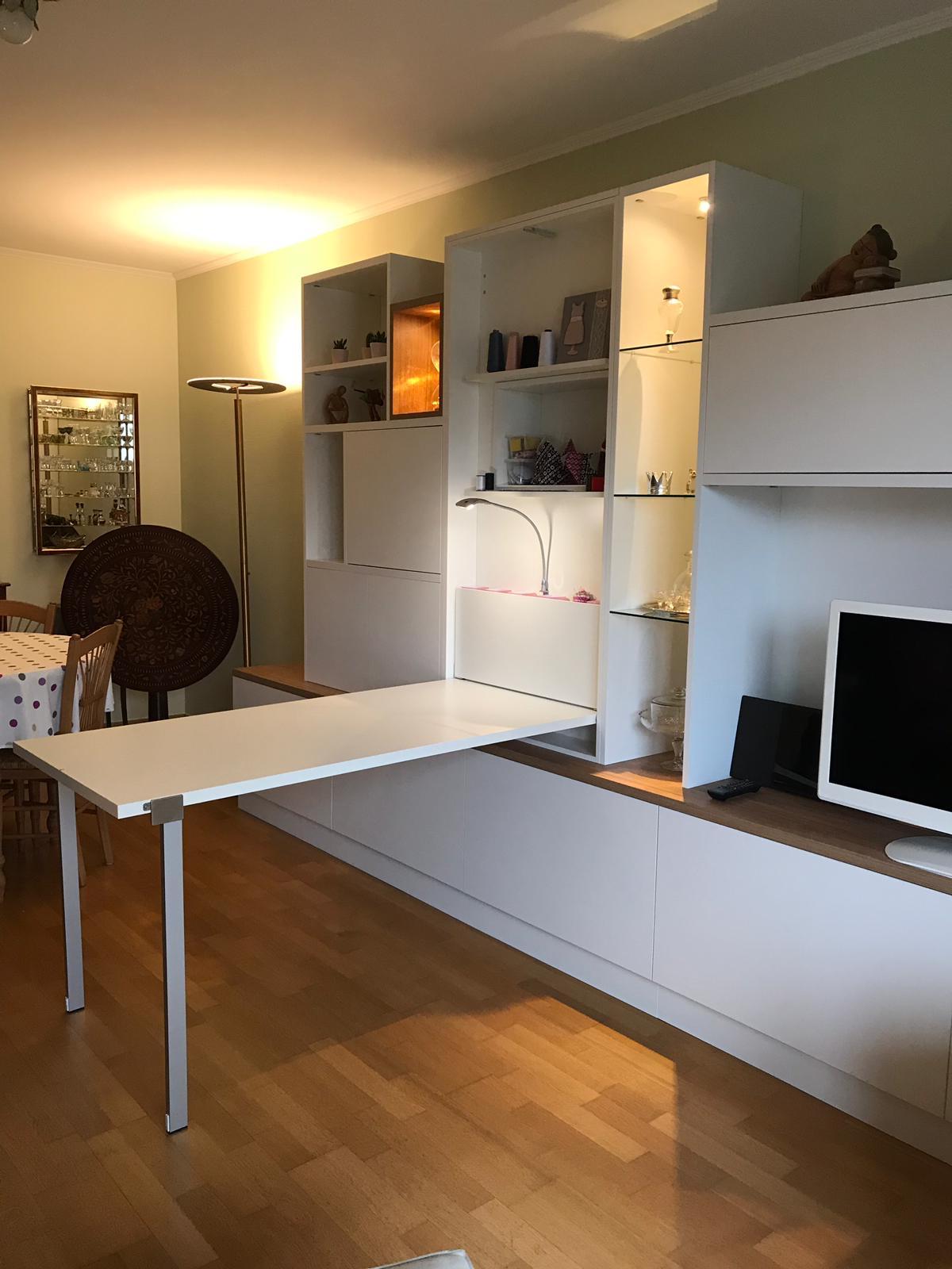 Meuble tv avec une table escamotable kiosque am nagement - Meuble cuisine avec table escamotable ...