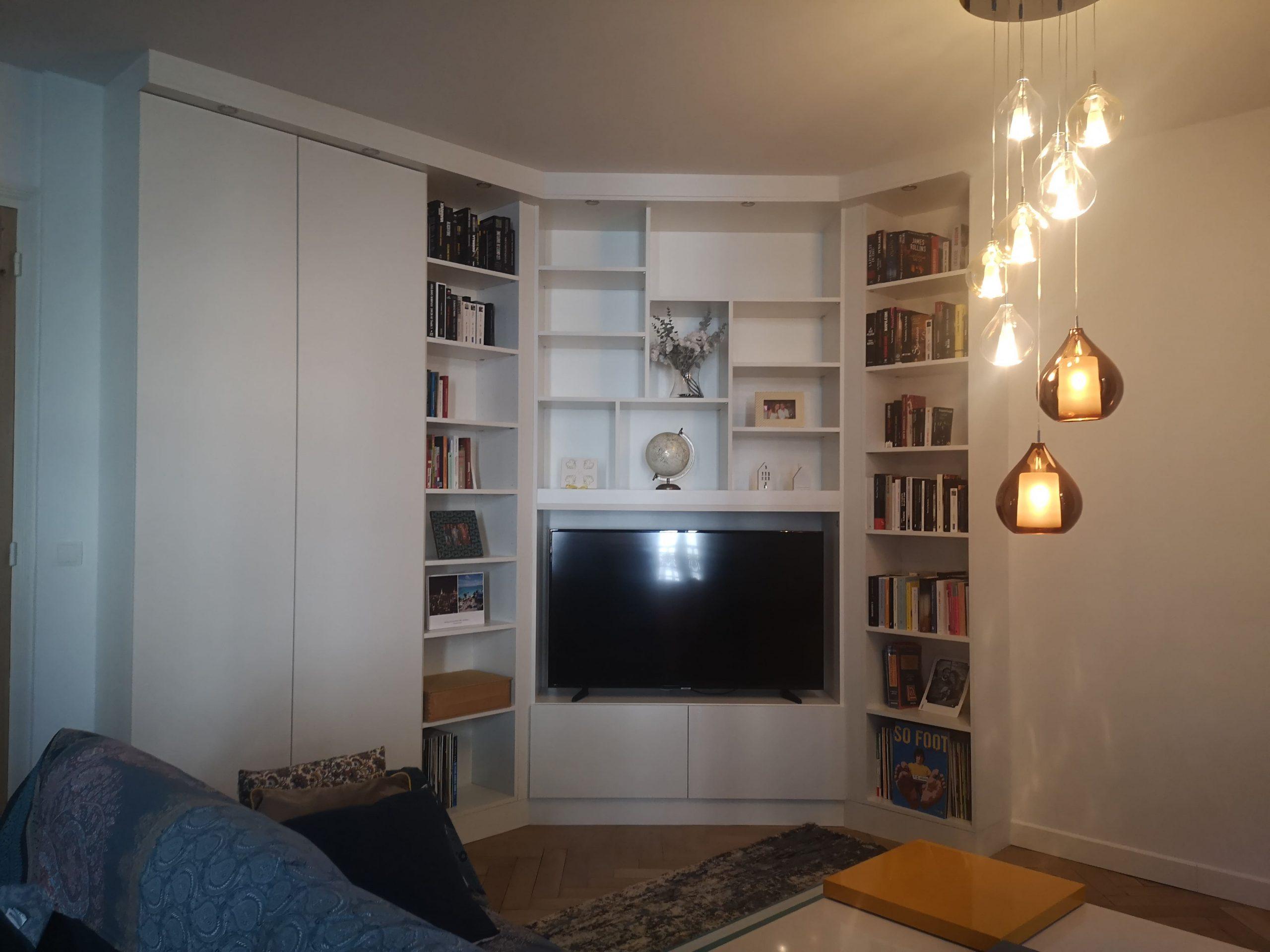 Meuble tv/bibliothèque sur-mesure