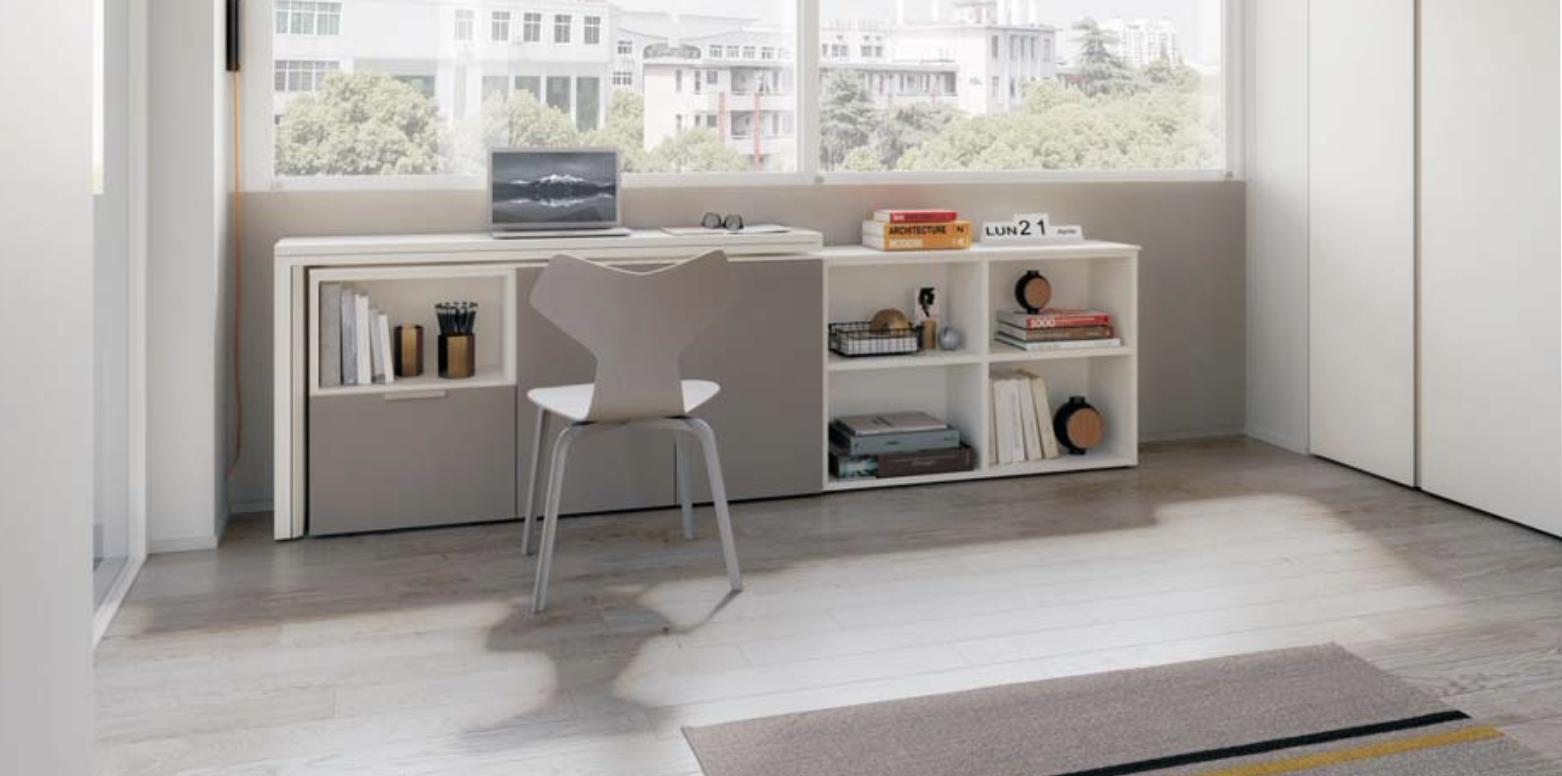 Sur cette photo, on voit le meuble modulable vue d'un autre angle.