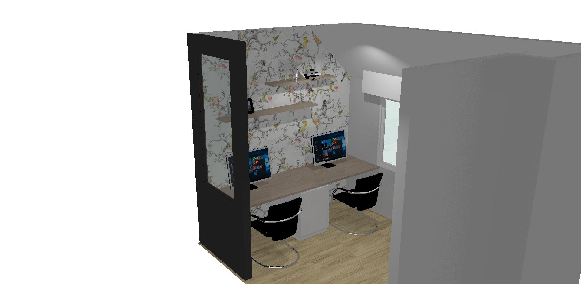 Sur cette première photo, on peut voir la 3D du bureau.