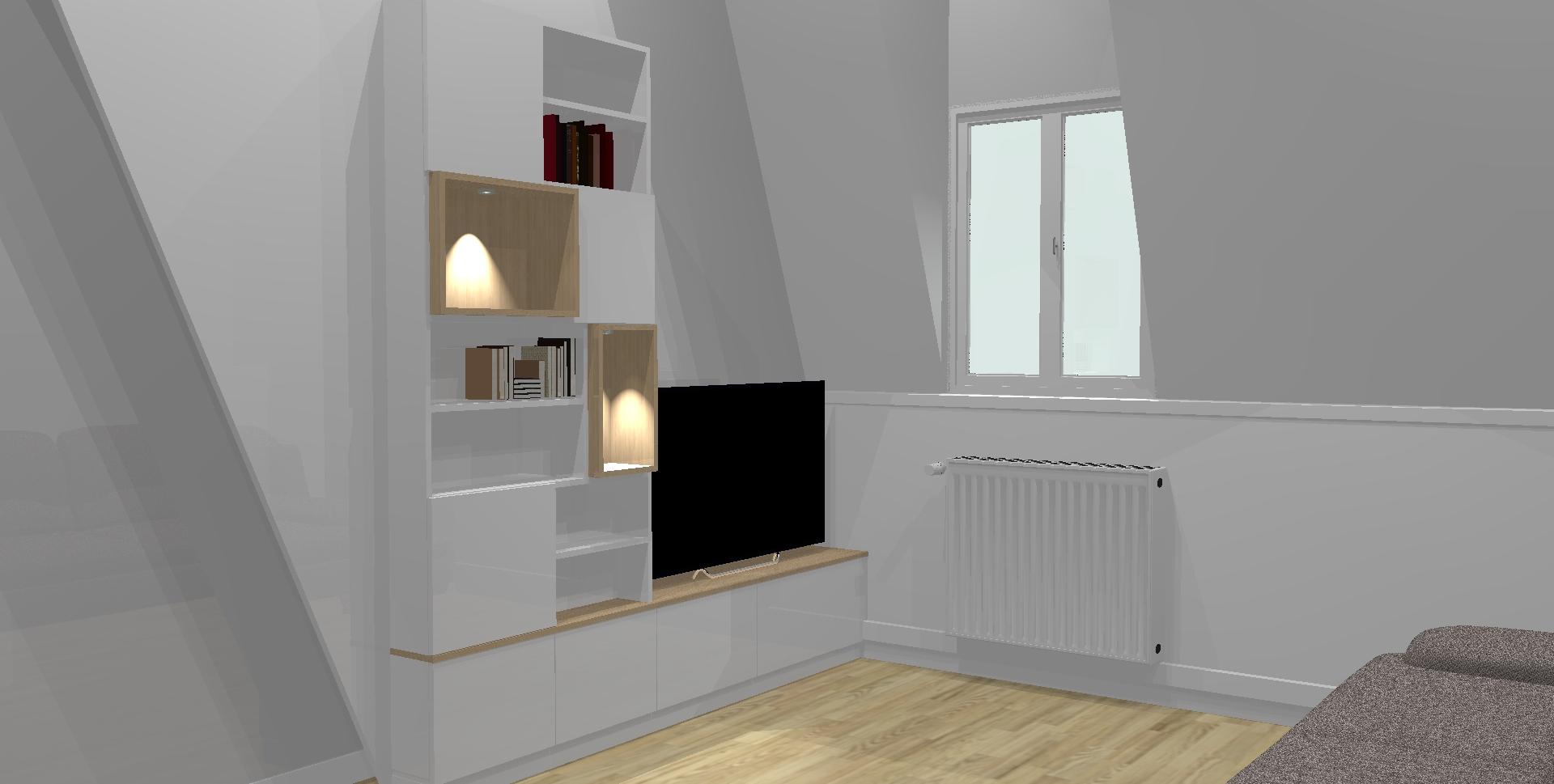 Voici la réalisation 3D du meuble tv.